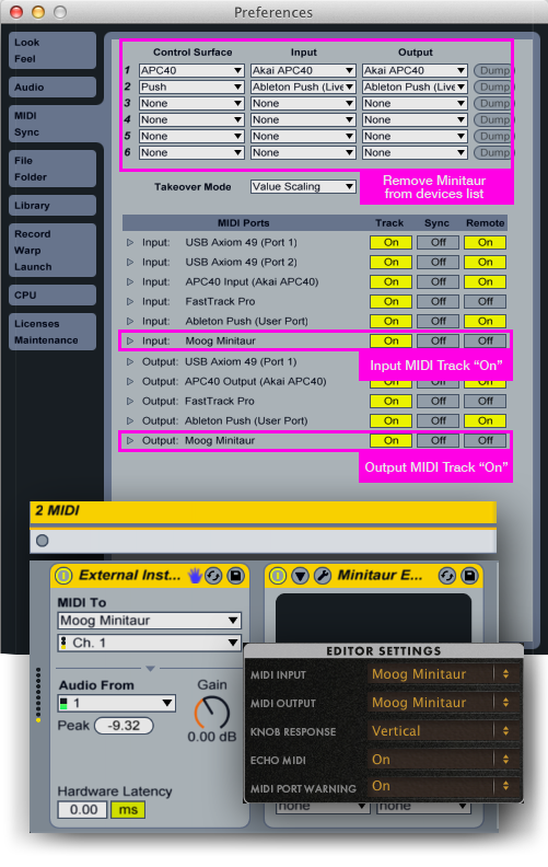 Ableton Minitaur Fix